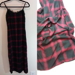 Buffalo David Bitton Plaid Slipdress Velvet Detail